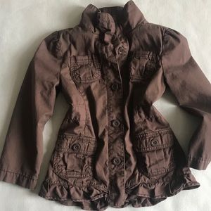 Gymboree Girls Ruffles and Bow Brown Jacket